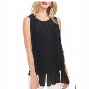 Vince Camuto pleated overlay mixed media top M